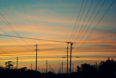 Power surge (cchelseamurphyy) Tags: city pink blue sunset orange love lines power view powerlines