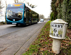 Derby? It's behind you! (Lady Wulfrun) Tags: nottingham derbyshire trent barton derby i4 risley milepost sandiacre stapleford optare 6miles trentbarton borrowash