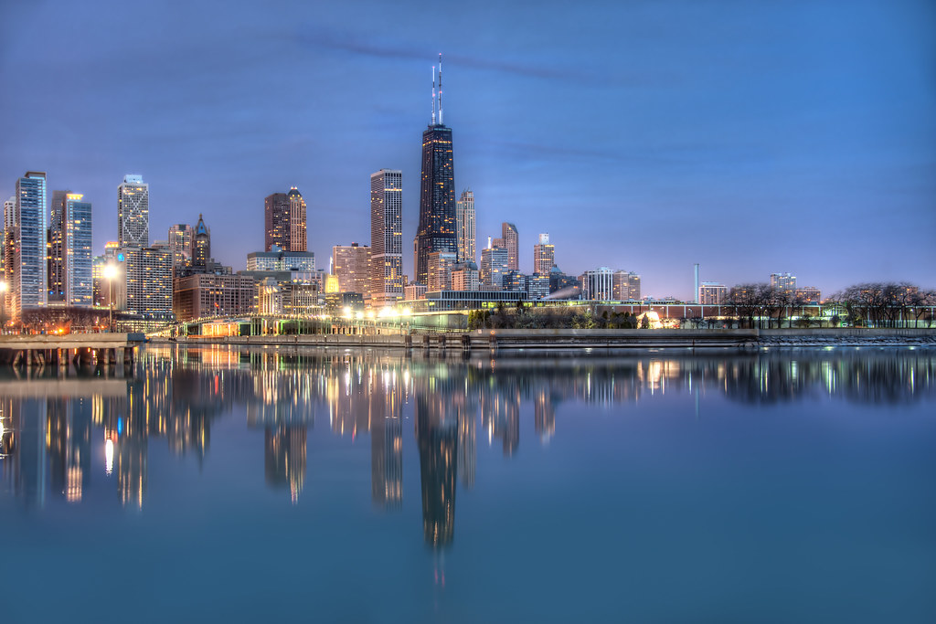 The Chicago Skyline reflected onto Lake Michigan during a rare calm Chicago morning.