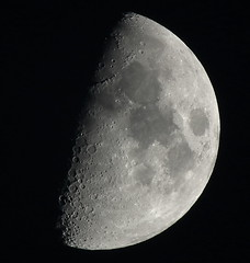 First Quarter, 59% of the Moon is Illuminated taken on January 19, 2013 with a FUJI HS10 using a 1.7x TCL Js155 DSCF4595 (Ted_Roger_Karson) Tags: moon fuji telephoto finepix fujifilm jpeg moonshot moonwatch hs10 mooncapture telephotoconversionlens 17xteleconversionlens 17xtelephotoconversionlens fujifilmhs10 fujifilmfinepixhs10 fujihs10 17xconversionlens
