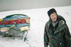 Hardy Brighton Fisherman (lomokev) Tags: sea portrait england snow man male beach canon person eos boat fisherman brighton unitedkingdom working rory human 5d snowing fishingboat mccormack dragging canoneos5d