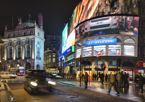 Cab through Piccadilly Circus