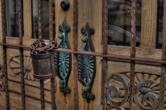 Access Denied (MPnormaleye) Tags: wood arizona southwest detail architecture rural 35mm woodwork rust gate doors decorative rustic entrance textures portal hdr ironworks