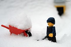 Day #33 More Snow...grumble, grumble (gravescout) Tags: red white snow fun toy lego shovel wheelbarrow minifigure project365 365days
