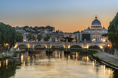 Over The Angels... (JH Images.co.uk) Tags: vatican st angelo bridge sunset lights rome italy water blue sky basilica dome architecture hdr dri