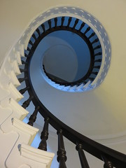 The Spiraling Stairs Will Make You Go Insane (amyboemig) Tags: victorian stairs spiral white wood rope railing banister