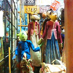 Creepy Puppets (Exile on Ontario St) Tags: botines montral antique shop store montreal mileend antiquaire antiques window display vitrine bazaar puppet puppets marionnette marionnettes characters faces grimace grimances grinning face smile creepy ugly frightening scary toys toy old retro vintage smiling smiles fentre square squareformat