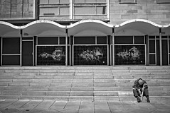Forty Winks (D.J. De La Vega) Tags: sunderland mowbray park leica x1 street candid social documentary nap sleep siesta old man steps mosaic