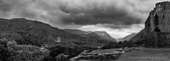 Dinorwig from Dolbadarn (Mike_Sowerby) Tags: dolbadarn castle llanberis pass dinorwig quarry slate ruins cloudy black white llyn peris mountains michaelsowerbyphotographycom