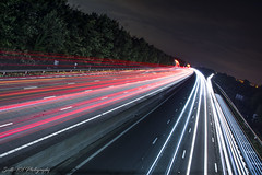 m1_j30_north (Scott's-101 Photography) Tags: nightphotography light trail lighttrail m1 southyorkshire motorway redlight speed longexposer