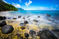 Golden Shores (Michael Zampelli) Tags: 2016 balihai hawaii hideaways palikekua princeville timeexposure beach coast rocks sea water