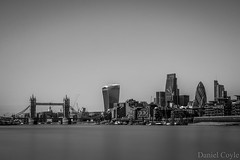 The City (Daniel Coyle) Tags: thecity thecityoflondon thames towerbridge river riverthames london longexposure danielcoyle nikon nikond7100 d7100 water stpaulscathedral stpauls cathedral skyline cityskyline walkietalkie cheesegrater gherkin herontower blackandwhite bw blur rotherhithe uk england