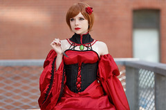 Lady in Red-0003 (Besisika) Tags: otakuthon otaku manga cosplay 2016 montreal girl lady woman dress red besisika barabasy rakoto anime convention costume posing offcamera flash strobe outdoor lifestyle people mpaka sary quebec canada shallow depth field canon 70200mm 28