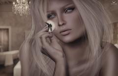 Shea~Powdering (Skip Staheli (Clientlist closed)) Tags: skipstaheli secondlife sl avatar virtualworld dreamy digitalpainting makeup powder blonde closeup portrait sheaxseamax bedroom