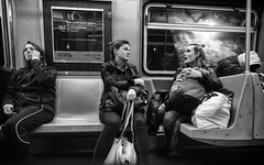 Lil Stories (mkc609) Tags: street streetphotography bw blackandwhite blackwhite urban candid nyc newyork newyorkcity subway smalltalk
