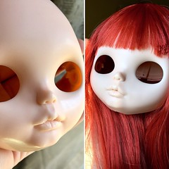Redhead in Progress (Chassy Cat) Tags: chassycat custom doll blythe wip workinprogress olyinwonderland faceplate redhead