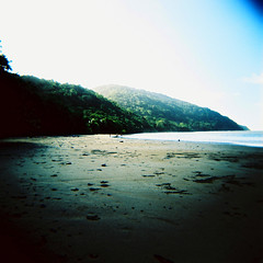Cape Tribulation (Kerrie McSnap) Tags: ocean 120 film beach square landscape holga lomo xpro lomography sand crossprocess north toycamera queensland crossnorthcross processedcolorcolourkodak e100cape tribulationqueenslandqldfar