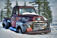 Rusty old Mercury truck in snow. (H.B. Mejia) Tags: old trees snow canada ford abandoned rural truck spectacular photography artistic mercury rustic rusty canadian alberta stunning oldtruck hdr v8 classictruck freshsnow rustytruck oldfarmmachinery phenomenal farmtruck tonemapping wintercolours m47 farmparts oldmercury ruralalberta stunningphotography spectacularphotography burriedinsnow oldworktruck rustyoldfarmtruck rustyoldmercury rustyoldmercuryfarmtruck classicfarmtruck classicoldmercurytruck classicoldmercury
