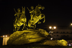 Statue of Techo Meas and Techo Yort (Keith Kelly) Tags: city sculpture horse statue bronze night dark lights evening asia cambodia seasia southeastasia capital illuminated phnompenh kh lit aroundtown riders militaryhistory kampuchea kompongspeu militarycommander techomeas techoyort techoyot