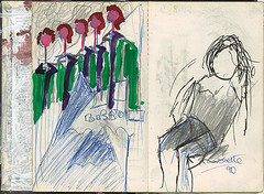 """procession of figures in green,plus quick drawing • <a style=""""font-size:0.8em;"""" href=""""http://www.flickr.com/photos/91814165@N02/8423315881/"""" target=""""_blank"""">View on Flickr</a>"""