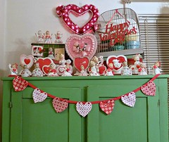 Valentine's Day Decorations~2013 (MissConduct*) Tags: decorations light green art birdcage girl angel vintage tin illinois picnic basket heart bell handmade cottage decoration style garland valentine collection pots pottery crown lightup handsewn figurine decor planter valentinesday 1959 heartshaped bunting mccoy madeinjapan lefton missconduct napco relpo rubensoriginals oldglorycottage