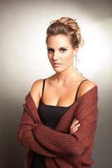 Mary (tripleloutz) Tags: red portrait woman black wool beautiful mary blond shoulders pullover