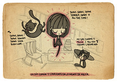 Jump in the line (Anita Mejia) Tags: life cute love illustration pen ink cat day journal kitty doodle gato kawaii sanvalentin 14defebrero chocolatita anitamejia