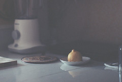 Lemon (Andrey Timofeev) Tags: morning film kitchen 35mm reflections notebook table lemon twilight shadows earlymorning plate dishes tones  285  screwmount jupiter9  zenitttl    kodakportra160 35     9   42 february2013 39 m39tom42stepdownringadapter