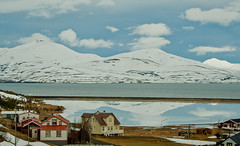 Village Hjalteyri, icy days. (joningic) Tags: houses winter sea sky house snow ice nature water iceland pond village snowymountain eyjafjrur snowymountains hjalteyri