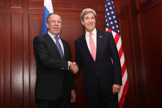 Russian Foreign Minister Sergey Lavrov with Secretary Kerry before their bilateral meeting