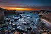 Bar Beach (Kiall Frost) Tags: ocean blue red sky seascape color colour water clouds sunrise landscape photo rocks image australia nsw prints colourful skys barbeach newcastlesundance kiallfrost