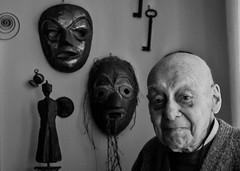 The third mask (Leonard M.) Tags: old portrait bw white man black face mask masks third aged