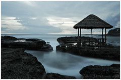 Calm (Jokoleo) Tags: sunset sea blackandwhite bw motion beach water indonesia wave scape pantai garut rancabuaya jawabarat cicalobak