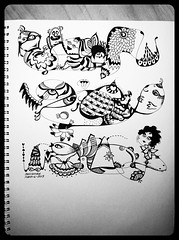 Three in a bed (AnnieM00) Tags: blackandwhite fish silly bird art animals monster happy crazy eyes pattern faces head drawing stripes cartoon doodle caricature wavy inking zentangle zendoodle uploaded:by=flickrmobile flickriosapp:filter=orca orcafilter