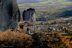 METEORA  MONASTERY OF ROUSANOU (GREECE, METEORA) (KAROLOS TRIVIZAS) Tags: church nature rock stone village peak greece monastery summit monolith meteora trikala kalabaka thessaly digitalcameraclub geologicalphenomenon blinkagain