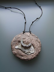sea giving (nightcloud1) Tags: sculpture oneofakind jewelry foundobject pendant hemp endofwinter warmgrey nightcloud textileclay presentsfromthesea metalandhemppulp