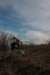 Fallen Trees and Open Skies (Miss Marisa Renee) Tags: wood blue trees portrait sky colour tree nature girl female clouds digital canon march sweater pond model pretty dress boots megan fallen clementine fallentree wooded naturalarea xhouseofleaves