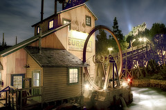 Grizzly River Run Mill (cstout21) Tags: california park ca travel chris vacation usa mill water rock night clouds happy lights us dock colorful unitedstates disneyland disney mickeymouse anaheim walt drainpipe westcoast lightposts hdr highdynamicrange stout californiaadventure waltdisney disneyscaliforniaadventure grizzlypeak grizzlyriverrun ngoc canon60d stoutandstout northamera