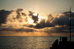 Dawn fisherman (Pat Charles) Tags: ocean sea sky beach water clouds sunrise pier fishing nikon day waves jetty australia queensland 1001nights sunrays palmcove farnorthqueensland abigfave 1001nightsmagiccity pwpartlycloudy