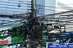 Electricians Headache (Mr Clicker / Davin) Tags: electric thailand phone mr many pole davin cables wires ko samui electricity telegraph lots heaps loads clicker hundreds 2013