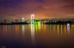Waiting for Rainbow at Odaiba Seaside (dinero57) Tags: ocean park city longexposure bridge seascape tower beach water canon buildings boats lights tokyo seaside cityscape nightscape engineering adventure citylights odaiba dslr dramaticsky rainbowbridge eos5dmarkiii 5dmarkiii dinero57