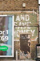 Save Money - Then and Now (photosam) Tags: london england unitedkingdom fujifilm xe1 fujifilmx prime raw lightroom xf35mm114r lewisham ghostsign advertising xf35mmf14r