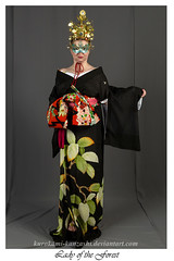 Lady of the Forest (Kurokami) Tags: kimono japan japanese asia asian woman women girl girls lady ladies traditional kitsuke tree spirit kami forest oak hikizuri suohiki ro summer okobo pokkuri off shoulder miko shrine maiden crown oiran tayuu maiko geiko geisha mask