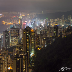 I Can't Find You In All This Life (Tim van Zundert) Tags: hong kong island china 1x1 square victoria peak view cityscape skyline landscape city night evening long exposure buildings towers skyscraper dark sony a7r zeiss 55mm sel55f18z