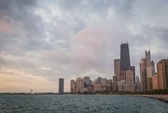 Chicago Sunrise (Joyce and Steve) Tags: chicago city urban sunrise lake lakeshore sun summer clouds pink yellow green