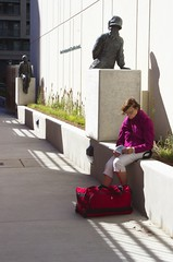 *** (klauslang99) Tags: streetphotography klauslang toronto canada person sitting reading outdoor statues