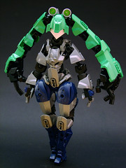 Hyla (Djokson) Tags: robot fighter girl fembot robogirl arms hair frog green grey blue lego bionicle moc djokson