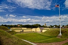 On Top of Fort Moultrie - Explore #125 8-25-2016 - Sulivan's Island South Carolina (Meridith112) Tags: fortmoultrie sullivansisland sc southcarolina south charlestoncounty charleston palmettologs palmettostate battleofsulivansisland generalwilliammoultrie nationalpark 1776 1947 fort summer 2016 august nikon nikon2485 nikond610 stellamarisromancatholicchurch explore explored explore8252016 flag americanflag