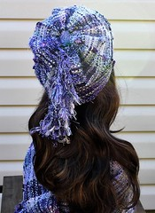 IMG_8942 (wovenflame) Tags: saori handwoven cowl hat lavender mixedwarp texture charlies an angel
