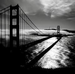 Mist-ifying. (kathleenjanegan) Tags: blackandwhite mist californialove goldengatebridge fog suspensionbridge bridge sanfrancisco bayarea sanfranciscobayarea citybythebay cityview marinheadlands marinheadlandslookout sausalito norcal northerncalifornia california